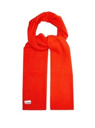 Ganni Ribbed Lambswool Blend Scarf Red