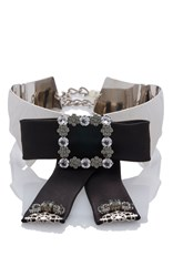 Dolce And Gabbana Embellished Silver Collar With Studded Black Bow
