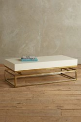 Anthropologie Lacquered Rectangular Coffee Table Cream