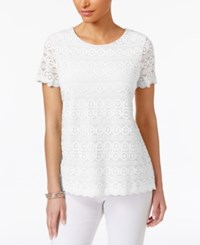 Charter Club Lace Scalloped Hem Top Only At Macy's Bright White