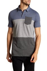 Burnside Stripe Colorblock Polo Blue