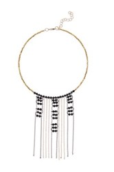 Panacea Jet Beaded Fringe Choker Black