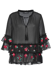 Hallhuber Crinkle Blouse With Embroidered Flounces Black