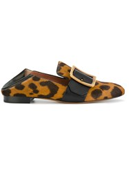 Bally Leopard Print Loafers Women Leather Calf Hair 36.5 Brown