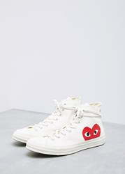 Comme Des Garcons Play 'S Play Converse Chuck Taylor High Shoes In Beige Size Us 6 Cotton Rubber
