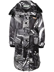 Off White Printed Trench Women Cotton Polyester 38 Black