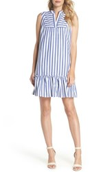 Charles Henry Stripe Bib Front Sleeveless Shift Dress Ivory Blue Stripe
