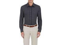 Luciano Barbera Men's Checked Cotton Button Front Shirt Grey White Black