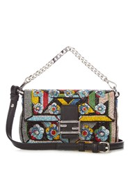 Fendi Micro Baguette Hand Embroidered Cross Body Bag Black Multi
