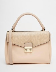 Asos Satchel Bag With Faux Snake Flap Multi