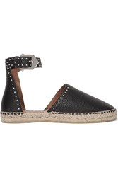 Givenchy Studded Textured Leather Espadrilles Black