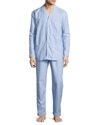 Neiman Marcus Dot Print Cotton Pajama Set Blue