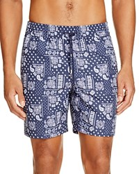 Jack Spade Bandana Print Swim Trunks Navy