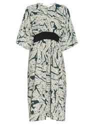Cedric Charlier Contrast Belt Printed Dress Green White