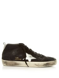 Golden Goose Midstar Suede Trainers Black Silver