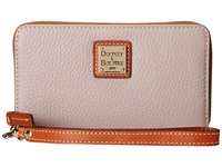 Dooney And Bourke Pebble Leather New Slgs Zip Around Credit Card Phone Wristlet Oyster W Tan Trim Wristlet Handbags Gray