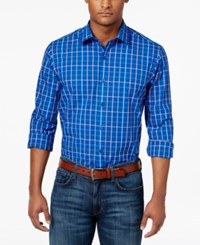 Club Room Men's Multi Color Grid Pattern Cotton Shirt Only At Macy's Lazulite