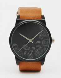 Asos Interchangeable Watch With Paisley Face Black