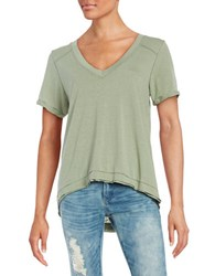 Free People Pearl V Neck Tee Green