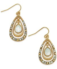 Inc International Concepts Gold Tone Capstone And Crystal Triple Teardrop Drop Earrings Only At Macy's