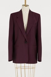 Acne Studios Short Wool And Mohair Coat Wine Red