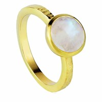 Neola Estella Gold Stacking Ring With Rainbow Moonstone Neutrals