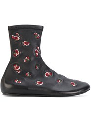 Kenzo Floral Boots Leather Polyamide Black