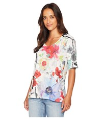 Nally And Millie Short Sleeve Floral Print Top Multi Clothing