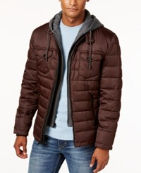 Buffalo David Bitton Men's Quilted Hooded Puffer Coat Burgundy