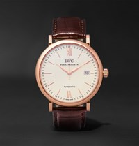 Iwc Schaffhausen Portofino Automatic 40Mm Red Gold And Alligator Watch Brown