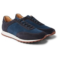 Loro Piana Weekend Walk Two Tone Suede Sneakers Blue