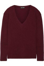 Tom Ford Ribbed Cashmere Sweater Merlot