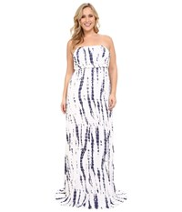 Culture Phit Plus Size Hally Dress White Navy Tie Dye Women's Dress