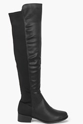 Boohoo Elastic Back Over Knee Boot Black