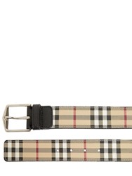 Burberry 40Mm Classic Check Belt Camel