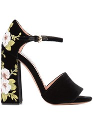 Rochas Floral Chunky Heel Sandals Women Leather Silk Velvet 39 Black