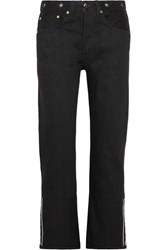 Rag And Bone Cropped Mid Rise Straight Leg Jeans Black