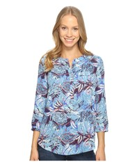 Nydj 3 4 Sleeve Pleat Back Maldives Garden Corsica Blue Women's Blouse