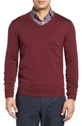 John W. Nordstromr Men's Big And Tall Nordstrom Merino Wool V Neck Sweater Burgundy Stem