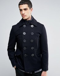 Celio Double Breasted Quilted Jacket In Wool Mix Marine Navy