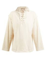 Lemaire Lace Up Organic Cotton Sweatshirt Ivory