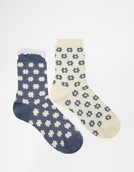 Lovestruck 2 Pack Floral Socks Grey
