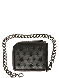Jimmy Choo Star Embossed Leather Chain Wallet Black