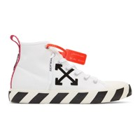 Off White And Black Arrows Mid Top Sneakers