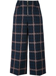 Dondup Checked Cropped Trousers Blue