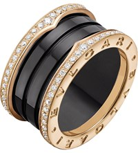 Bulgari B.Zero1 Four Band 18Kt Pink Gold Black Ceramic And Diamond Ring
