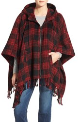 Steve Madden Women's Hooded Poncho Cardigan Red Black Plaid