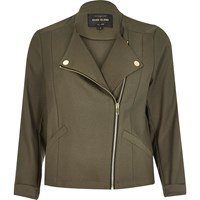 River Island Womens Khaki Green Soft Biker Jacket