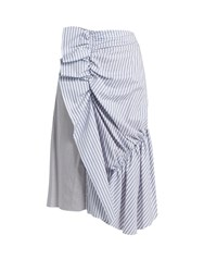 J.W.Anderson Patchwork Ruched Striped Cotton Skirt Blue Stripe