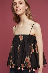 Anthropologie Floral Tasseled Cami Black Motif